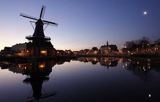 Windmill at sunset in Amsterdam, Holland