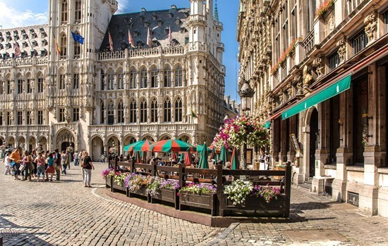 A terrace in the sun on the Grand Place in Brussels